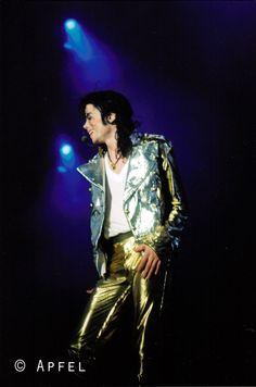 Michael Jackson in gold pants.