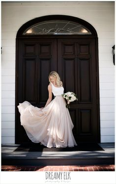 outdoor bridal photo, bride, southern protocol bridal boutique, haute bride belt, carol hannah kensington halter and blush skirt, july summer morning wedding, ashelynn manor, magnolia, texas {dreamy elk photography and design}
