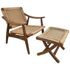 Hans-Wegner Style Lounge Chair and Ottoman | 1stdibs.com