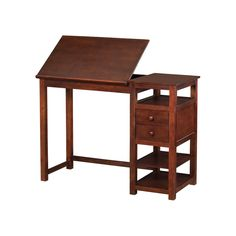 Let your creativity run wild with the versatile Dorel Living Drafting Counter Height Desk. Crafted with a sturdy wood construction and a mature espresso finish, this desk ensures sturdiness and years of reliable use. The table top can lie flat to accommodate working on a laptop or the top can be angled in order to achieve an ergonomic working position. This feature allows you to work at the perfect angle making it easier on your body to be more comfortable and productive. The desk has two…