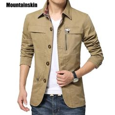Mountainskin Men'S Jacket Coat Casual Solid Men Outerwear Slim Fit Khaki Army Cotton Male Jackets Brand Clothing Work Jackets, Men's Coats And Jackets, Casual Jackets, Parker Jacket, Slim Fit Khakis, Jacket Brands, Shirt Jacket, Jacket Men, Jacket 2017