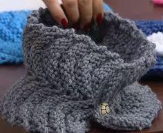Gola de tricô em ponto gomos feita por Rosângela Chicote pontos múltiplos de 11 + 1  Agulhas de tricô compatível com o fio  https://yo...
