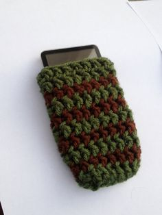 Olive and Brown Striped iPhone 4S iPhone 3  Cozy by TheWorldFamous, $5.00