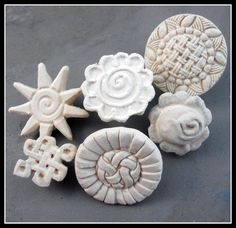 Bisque clay stamps  set of 6 new patterned stamps     by MoldingU, $21.00