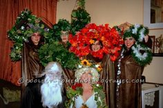 Original Four Season Trees, Mother Nature and Father Time Group Halloween Costume