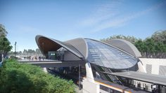 The final design of the new Cudgegong Road Railway Station has been revealed. Hill Station, Bus Station, Train Station, Futuristic City, Futuristic Technology, Concept Architecture, Amazing Architecture, Waterloo Station, Sydney Metro