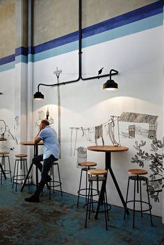 Gordon Street Garage - love the walls, cement floor and chilled style #chilledinterior #cafeinterior #cementfloor