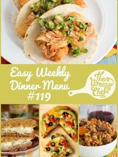 Weekly dinner menu featuring Margarita Chicken Tacos, Beef Barley Soup, Creamy Spaghetti, and lots more (plus coupons)!