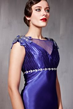 Vintage Style Royal Blue Evening Gown CX856692 - Full Length - Evening Gowns