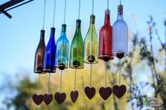 Wind Chimes Made From Glass Wine Bottles with Copper Trim Ou.- Wind Chimes Made From Glass Wine Bottles with Copper Trim Outdoor Garden Patio Decor Unique Wine Gift Home Decor Wine Bottle Wind Chime Garden Decor Gift for von BottlesUncorked - Glass Bottle Crafts, Wine Bottle Art, Crafts With Wine Bottles, Wine Bottle Windchimes, Wine Bottle Lanterns, Diy Bottle, Wine Bottle Glasses, Diy Glasses, Bottle Garden