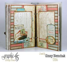 """""""Come Away With Me"""" Travel Journal 1 [Tutorial also on Snapguide] by Ginny Nemchak for Graphic 45 Design Team ~ Mini Albums."""