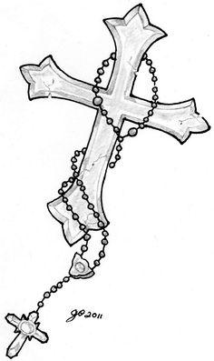 Cross and Rosery Tattoo Image by ElTattooArtist.deviantart.com on @DeviantArt