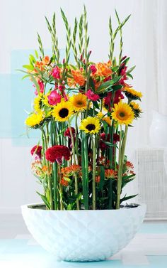 When arranging a sunflower bouquet or arrangement, think about a combination of calla lilies, gladioli, dahlias and celosia. Other flowers which are nice to combine with sunflowers and which you can see on the photo are gladioli, alstroemerias, celosias and asclepias. www.vandijkbloemen.nl