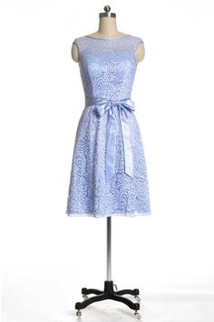 Elegant Blue Bateau A Line Short Lace Formal Dress Dressesmall