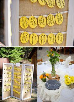lemon yellow escort cards