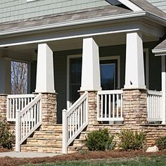 Craftsman style columns with stone facing