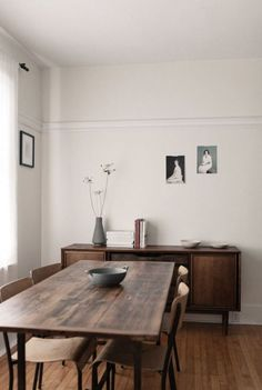 simple, spare dining room.