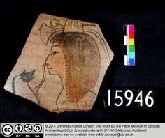 """This ostracon from the Ramesside period has a beautiful drawing of a girl with two lilies on her head. It is found by Petrie behind a school of artists in the Ramesseum brick galleries and described in his """"Six temples at Thebes"""" on page 17 as an """"excellent drawing """"of """"a girls head, carefully drawn and finished up with red cheeks; but a rival student took it up and added, with a different brush, the dog scratching her nose"""". The dog is probably not a dog and is nowadays described as a…"""