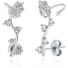 BERRICLE Sterling Silver Cubic Zirconia CZ Flower Tulip Fashion Ear... ($43) ❤ liked on Polyvore featuring jewelry, earrings, clear, ear cuffs, women's accessories, sterling silver ear cuff, earring jewelry, cubic zirconia earrings, tulip earrings and post earrings