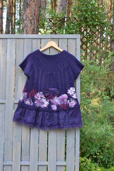 Artistic womens vest / Purple jacket with boho flowers