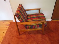 Mid Century Modern Lounge Chair Chair with Plaid by CapeCodModern