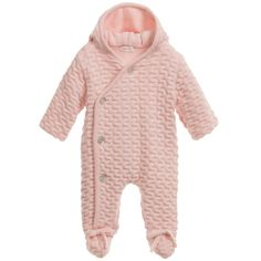 Mebi Baby Girls Pink Hooded Pramsuit at Childrensalon.com