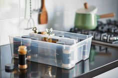 """Are you running low on drawer space in your kitchen? A clear, handled SAMLA box is a great way to store rarely used items, that you can access whenever…"""