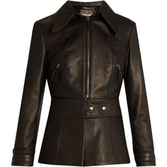 Roberto Cavalli Point-collar leather jacket ($1,890) ❤ liked on Polyvore featuring outerwear, jackets, black, over shirt, 100 leather jacket, snap jacket, real leather jackets and genuine leather jackets
