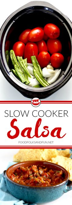 "BONUS: In this post you'll find directions for canning this Slow Cooker Salsa! This ""set it and forget it"" slow cooker salsa will soon become your favorite salsa recipe! It's incredibly easy to make with very little prep time. It's great for tailgating, game day, barbeques, dressing up your favorite taco, or just for snacking."