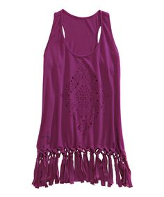 Look at this Tin Haul Magenta Geo-Cutout Fringe Racerback Tank on #zulily today!