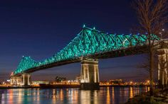 Snap Shot of Montreal, Quebec. The Jacques Cartier Bridge is so beautiful with it's lights at night. Jacques Cartier, Of Montreal, Montreal Canada, Toronto Canada, Ontario, Parc National De Banff, Voyage Canada, Cultural Capital, Top Travel Destinations