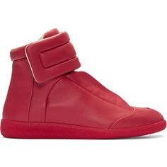 Maison Margiela Red Future High-Top Sneakers ($795) ❤ liked on Polyvore featuring men's fashion, men's shoes, men's sneakers, red, mens red sneakers, mens high top velcro shoes, mens velcro strap shoes, mens red high top sneakers and mens leather high top shoes