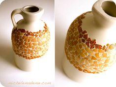 Plastic jug to mosaic vase (using eggshells)...hummm!! so many things to embellish with egg shells!!