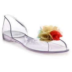 Stuart Weitzman Jellybow Floral D'Orsay Flats ($270) ❤ liked on Polyvore featuring shoes, flats, apparel & accessories, multi, slip on flats, floral print shoes, clear flats, clear shoes and jelly shoes