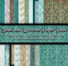 Free printable paper pack, Teals and Browns