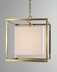 Cube Caged Lantern Pendant Light // Eric Cohler for Visual Comfort #lantern #brass
