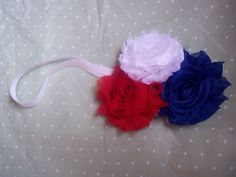 Red White and Blue Headband fourth of July by LittleAlmondBlossom, $7.50