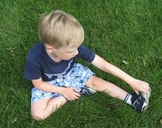 Kids may be naturally flexible, but they still benefit from stretching. Try this simple series of stretches (make sure muscles are warmed up first).: Hamstring Stretch
