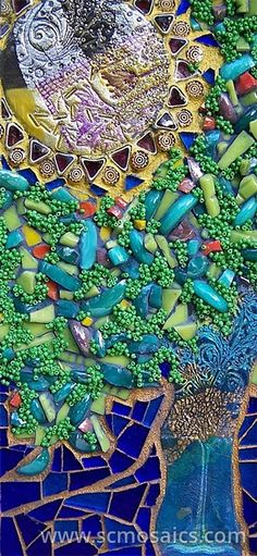 Handmade polymer clay tiles, glass, seed beads.