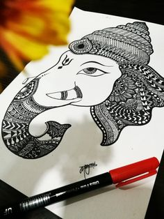 Doodle Art Drawing, Cool Art Drawings, Zentangle Drawings, Mandala Drawing, Pencil Art Drawings, Art Drawings Sketches, Abstract Drawings, Mandala Art, Ganesha Painting