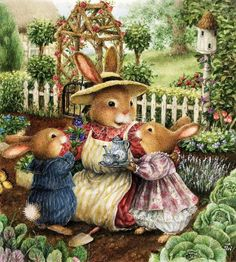 Rabbits in the garden - illustration by Susan Wheeler Susan Wheeler, Lapin Art, Beatrice Potter, Art Fantaisiste, Happy Merry Christmas, Christmas 2019, Bunny Art, Woodland Creatures, Whimsical Art