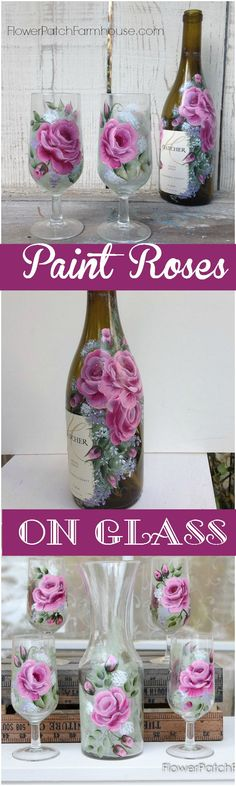 Learn How to Paint Gorgeous Roses on Glass, step by step video shows you each stroke and how to achieve a beautiful result. A great way to create gifts for your loved ones. Use empty wine bottles to create DIY vases, find thrift store stemware and gussy them up. The possibilities are endless. FlowerPatchFarmhouse.com