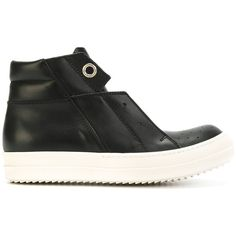 Rick Owens Island Dunk hi-top sneakers ($1,141) ❤ liked on Polyvore featuring shoes, sneakers, black, black shoes, high top shoes, leather hi top sneakers, leather high tops and black sneakers