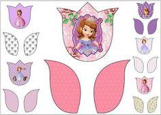 Princesa Sofia: Tarjetas con forma de Tulipán para Imprimir Gratis.
