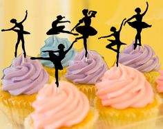 Printable Ballerina Silhouette Cupcake Toppers-Instant download cupcake topper-ballet birthday-digital file-2 inch-1.5 inch circle-2.5 inch by SouthernBellesCustom on Etsy