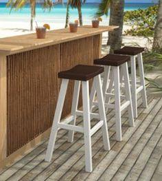 Outdoor Bar Stool - Ibiza Barstool - Eucalyptus Wood - Wood Finish ...