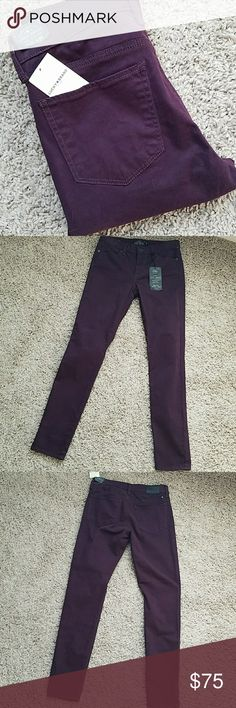 """NWT Lucky Brooke Legging Jean NWT Lucky Brooke Legging Jean. Size 2/26. Midrise. Material is soft and stretchy. Rich eggplant purple. Inseam is approximately 28 3/4"""". I wish these were my size... I would totally keep them. Lucky Brand Pants"""