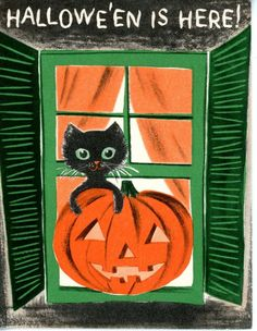 Vintage Norcross Halloween Greeting Card Black Cat & Pumpkin 1954
