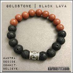 Yoga Bracelets Meditation Tibetan Buddhist Beaded Mala Men & Women. Black Lava Goldstone.
