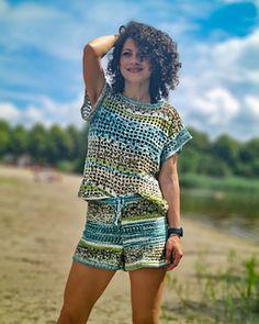 Ravelry: Marble T-shirt pattern by By Katerina Crochet Blouse, Crochet Yarn, Crochet Tops, Free Crochet, Sport Weight Yarn, Single Crochet Stitch, Work Tops, Crochet Clothes, Patterned Shorts